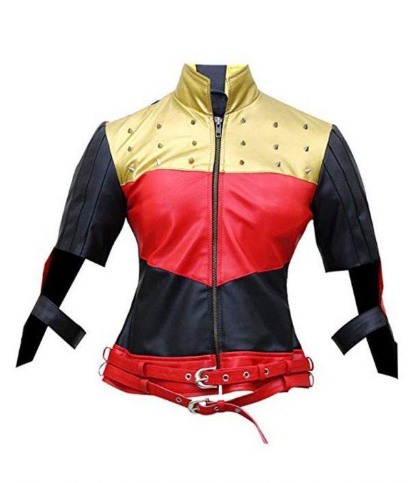 Harley Quinn Red Golden Studded Jacket