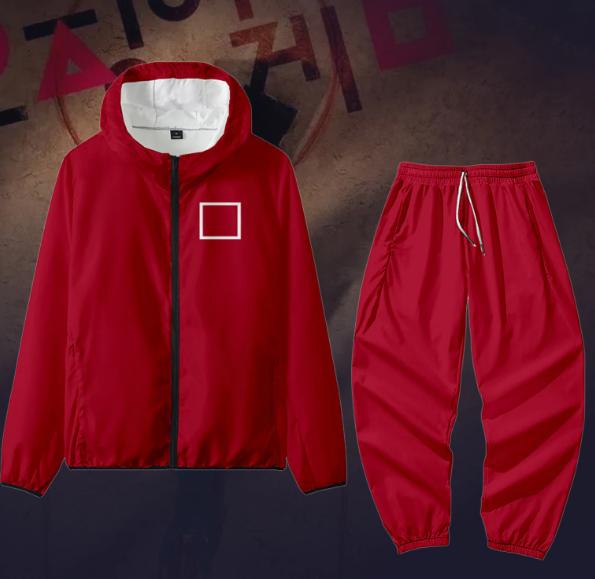 SQUARE-Men Women Jacket Pant Set Squid Game Square Circle Geometry Stand Collar