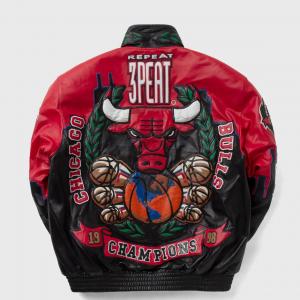 Men Three Peat Jeff Chicago Bulls Leather Jacket
